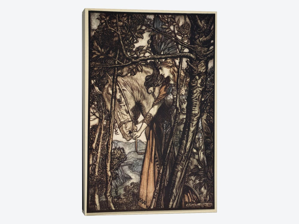 Brunnhilde Slowly And Silently Leads Her Horse Down The Path To The Cave (Richard Wagner's The Rhinegold & The Valkyrie), 1910 by Arthur Rackham 1-piece Canvas Print
