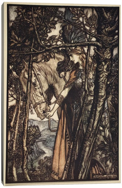 Brunnhilde Slowly And Silently Leads Her Horse Down The Path To The Cave (Richard Wagner's The Rhinegold & The Valkyrie), 1910 Canvas Art Print
