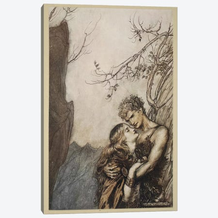 Brunnhilde Throws Herself Into Siegfried's Arms (Illustration From Richard Wagner's Siegfried And The Twilight Of The Gods) Canvas Print #BMN6369} by Arthur Rackham Canvas Wall Art