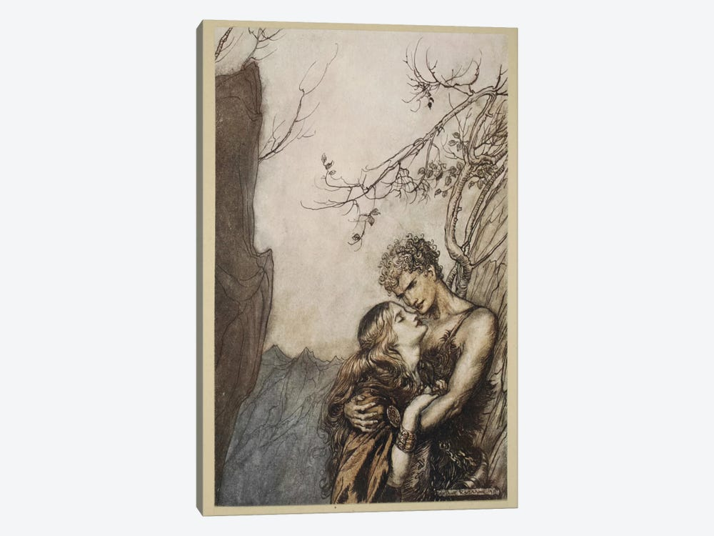 Brunnhilde Throws Herself Into Siegfried's Arms (Illustration From Richard Wagner's Siegfried And The Twilight Of The Gods) by Arthur Rackham 1-piece Canvas Art