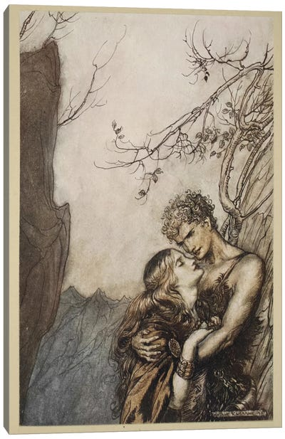 Brunnhilde Throws Herself Into Siegfried's Arms (Illustration From Richard Wagner's Siegfried And The Twilight Of The Gods) Canvas Art Print