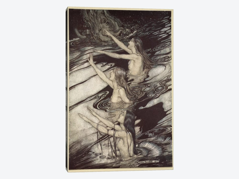"""Siegfried! Siegfried! Our Warning Is True! Flee, Oh, Flee From The Curse!"" (Wagner's Siegfried And The Twilight Of The Gods) by Arthur Rackham 1-piece Canvas Artwork"