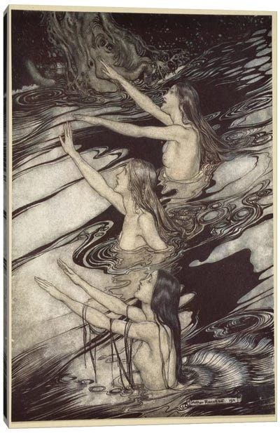 """""""Siegfried! Siegfried! Our Warning Is True! Flee, Oh, Flee From The Curse!"""" (Wagner's Siegfried And The Twilight Of The Gods) Canvas Art Print"""