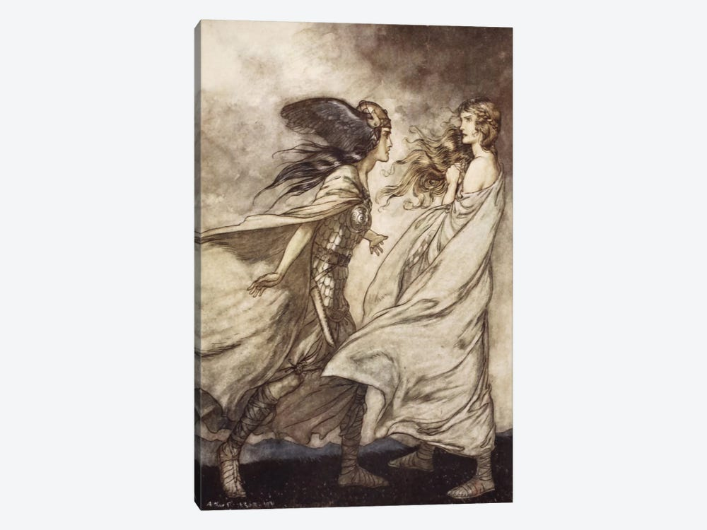 """""""The Ring Upon Thy Hand … Ah, Be Implored! For Wotan Fling It Away!"""" (Richard Wagner's Siegfried And The Twilight Of The Gods) by Arthur Rackham 1-piece Canvas Print"""