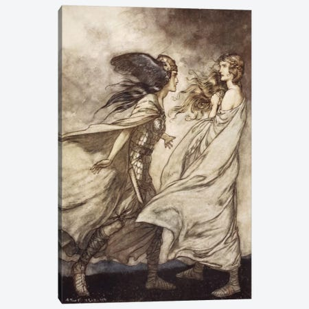 """""""The Ring Upon Thy Hand … Ah, Be Implored! For Wotan Fling It Away!"""" (Richard Wagner's Siegfried And The Twilight Of The Gods) Canvas Print #BMN6371} by Arthur Rackham Art Print"""