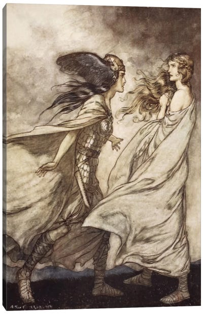 """""""The Ring Upon Thy Hand … Ah, Be Implored! For Wotan Fling It Away!"""" (Richard Wagner's Siegfried And The Twilight Of The Gods) Canvas Art Print"""