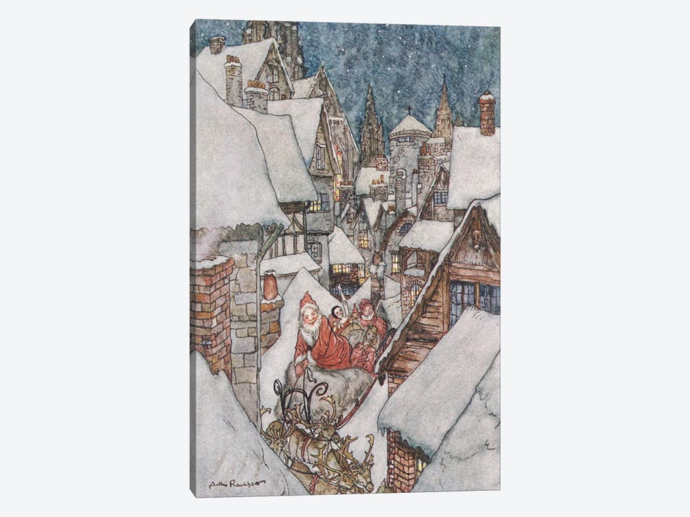 Colour Plate III (Illustration from Clement C. Moore's The Night Before Christmas), 1931 by Arthur Rackham 1-piece Canvas Print