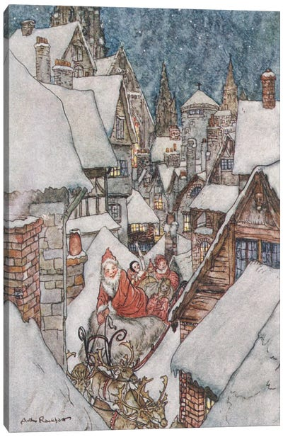 Colour Plate III (Illustration from Clement C. Moore's The Night Before Christmas), 1931 Canvas Art Print