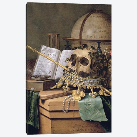 Vanitas (An Allegorical Still Life) Canvas Print #BMN6374} by Edwaert Collier Canvas Art