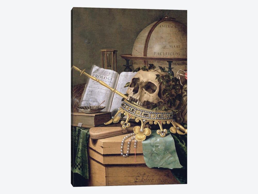 Vanitas (An Allegorical Still Life) by Edwaert Collier 1-piece Canvas Artwork