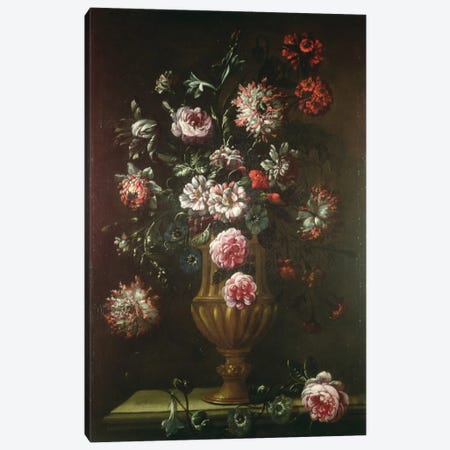 Still Life Of Flowers In An Urn Canvas Print #BMN6375} by Gaetano Cusati Canvas Art