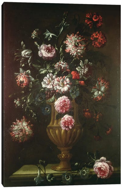 Still Life Of Flowers In An Urn Canvas Art Print