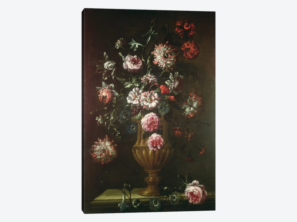 Still Life Of Flowers In An Urn by Gaetano Cusati 1-piece Canvas Print