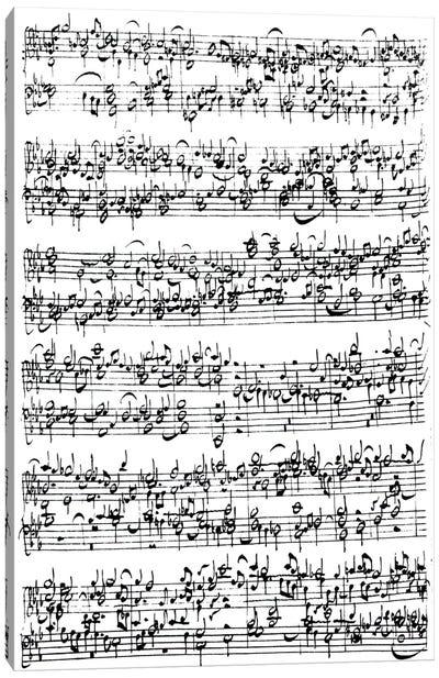 Photograph Of Johan Sebastian Bach's Music Score Canvas Art Print