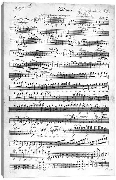 Score Sheet For The Overture To Egmont By Ludwig van Beethoven, 1809-10 Canvas Art Print