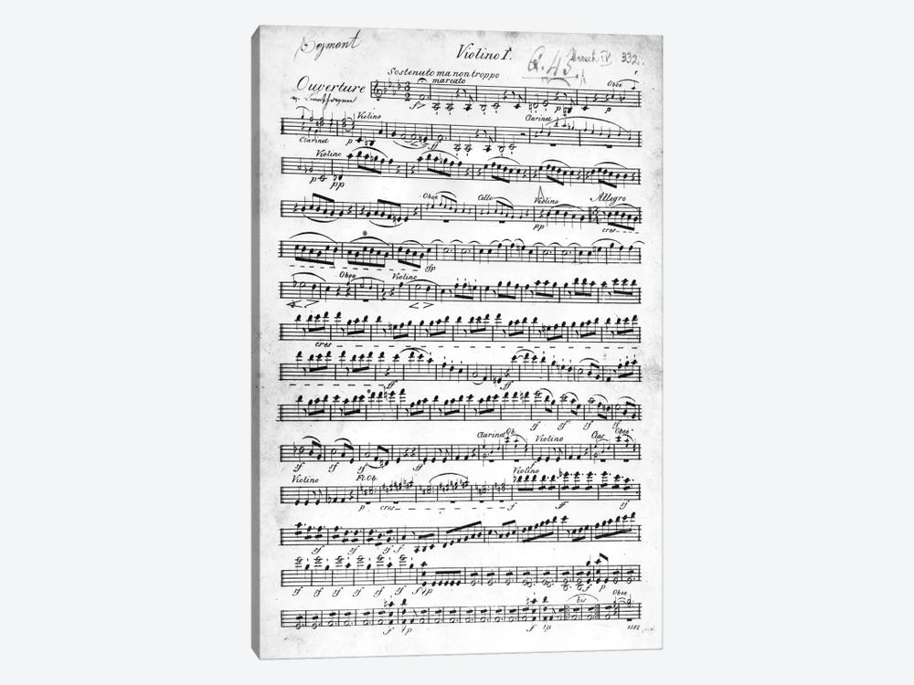 Score Sheet For The Overture To Egmont By Ludwig van Beethoven, 1809-10 by German School 1-piece Canvas Print
