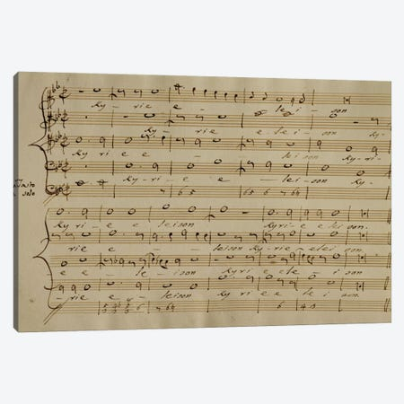 Score Sheet Of The Kyrie Eleison From The Messa a Quattro Voci Canvas Print #BMN6378} by Giovanni Pierluigi da Palestrina Canvas Art Print
