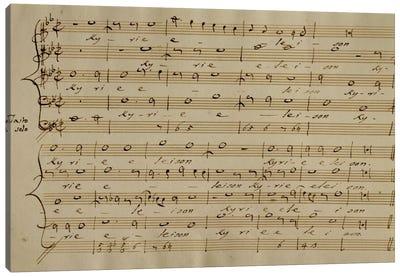 Score Sheet Of The Kyrie Eleison From The Messa a Quattro Voci Canvas Print #BMN6378