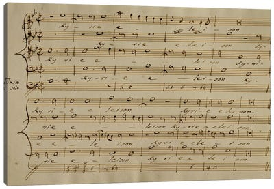 Score Sheet Of The Kyrie Eleison From The Messa a Quattro Voci Canvas Art Print