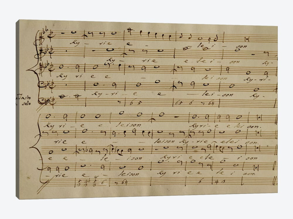 Score Sheet Of The Kyrie Eleison From The Messa a Quattro Voci by Giovanni Pierluigi da Palestrina 1-piece Canvas Art