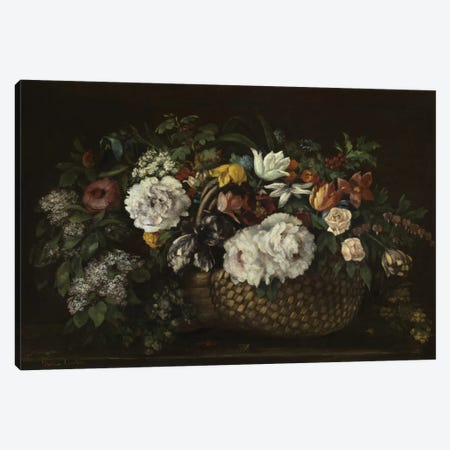 Flowers In A Basket, 1863 Canvas Print #BMN6379} by Gustave Courbet Art Print
