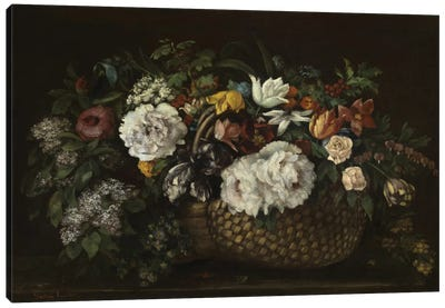 Flowers In A Basket, 1863 Canvas Art Print