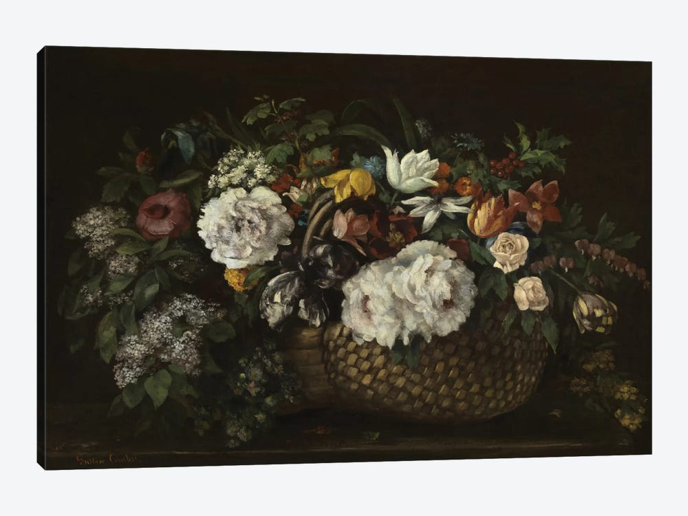 Flowers In A Basket, 1863 by Gustave Courbet 1-piece Canvas Art Print