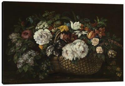 Flowers In A Basket, 1863 Canvas Art Print