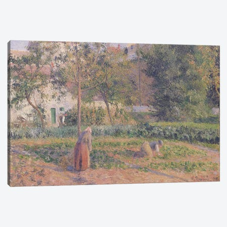 Vegetable Garden at the Hermitage, Pontoise, 1879  Canvas Print #BMN637} by Camille Pissarro Canvas Artwork