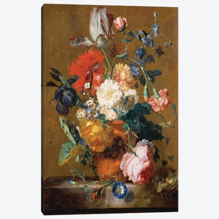 Bouquet Of Flowers Canvas Print #BMN6383} by Jan van Huysum Canvas Art