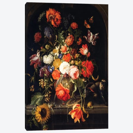 Flowers Canvas Print #BMN6385} by Jan van Huysum Canvas Art Print