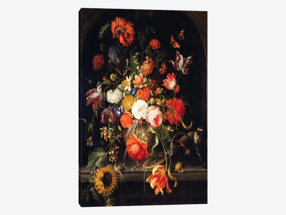 Flowers by Jan van Huysum 1-piece Canvas Artwork