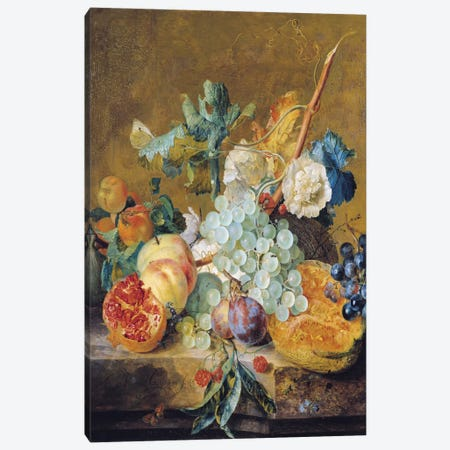 Flowers And Fruit Canvas Print #BMN6386} by Jan van Huysum Canvas Art Print