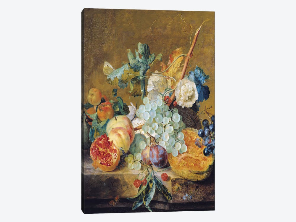Flowers And Fruit by Jan van Huysum 1-piece Canvas Print