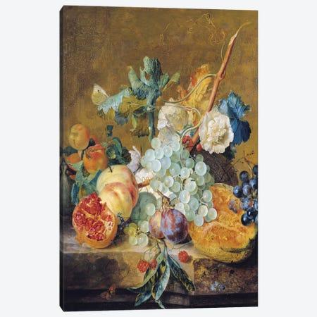 Flowers And Fruit Canvas Print #BMN6386} by Jan van Huysum Canvas Art Print