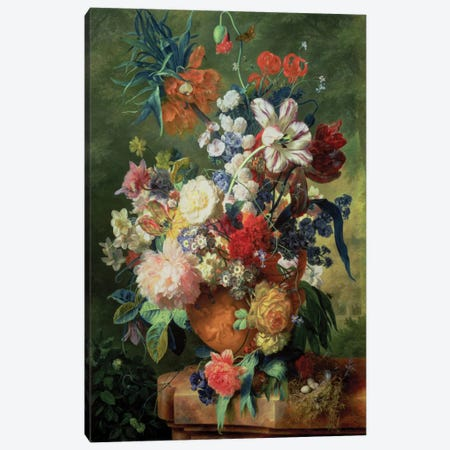 Still Life Of Flowers And A Bird's Nest On A Pedestal Canvas Print #BMN6387} by Jan van Huysum Canvas Art Print