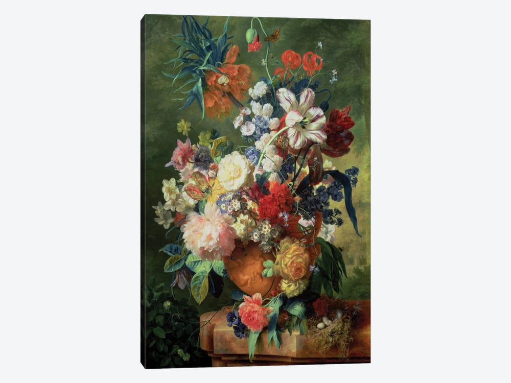 Still Life Of Flowers And A Bird's Nest On A Pedestal by Jan van Huysum 1-piece Canvas Art