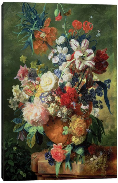Still Life Of Flowers And A Bird's Nest On A Pedestal Canvas Art Print