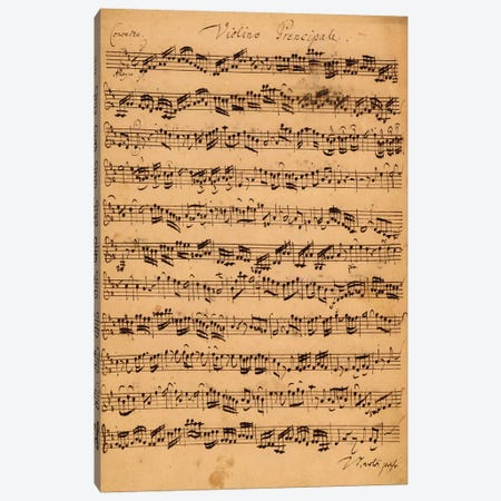 Score Sheet Of Brandenburg Concerto No. 5 In D Major Canvas Print #BMN6389} by Johan Sebastian Bach Canvas Art