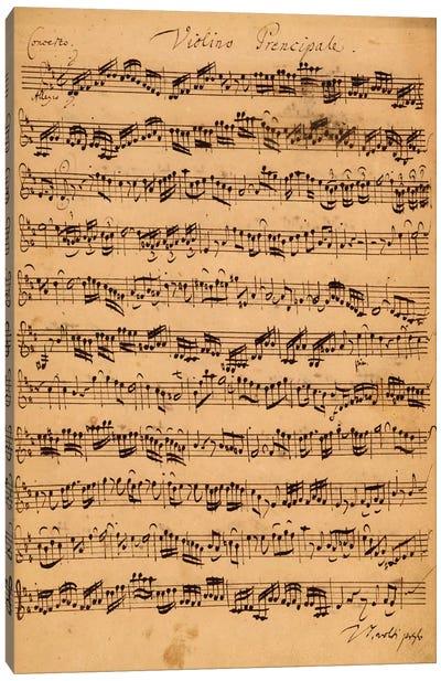 Score Sheet Of Brandenburg Concerto No. 5 In D Major Canvas Print #BMN6389