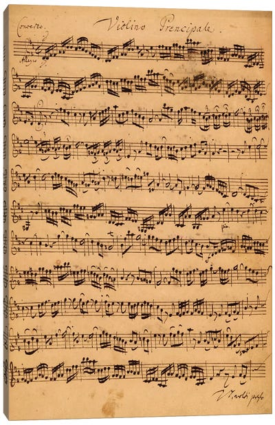 Score Sheet Of Brandenburg Concerto No. 5 In D Major Canvas Art Print