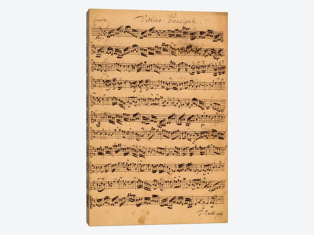 Score Sheet Of Brandenburg Concerto No. 5 In D Major by Johan Sebastian Bach 1-piece Canvas Artwork