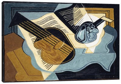 Guitar And Fruit Bowl, 1921 Canvas Art Print
