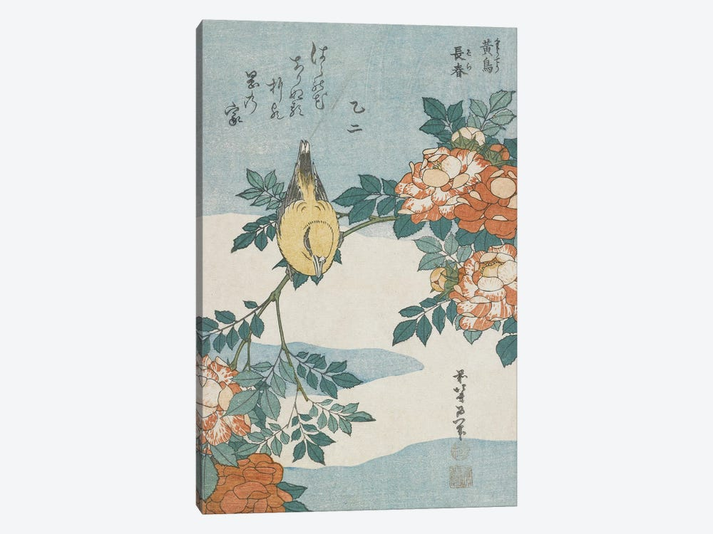 Black-Naped Oriole And China Rose, c.1833 by Katsushika Hokusai 1-piece Canvas Print