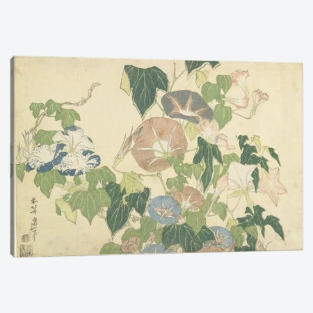 Frog And Morning Glories, c.1832 Canvas Print #BMN6392} by Katsushika Hokusai Art Print