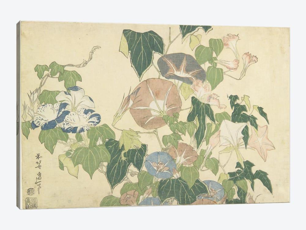 Frog And Morning Glories, c.1832 by Katsushika Hokusai 1-piece Canvas Wall Art