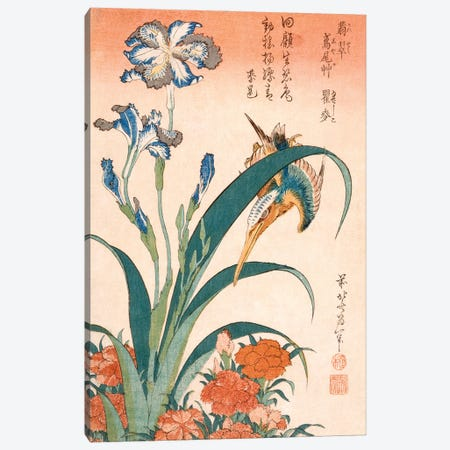 Kingfisher With Irises And Pinks Canvas Print #BMN6395} by Katsushika Hokusai Canvas Wall Art