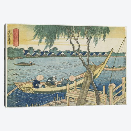Long-Line Fishing On The Miyato River, 1832-34 Canvas Print #BMN6396} by Katsushika Hokusai Canvas Artwork