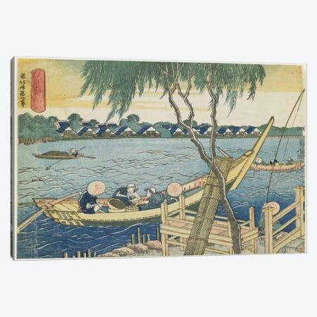 Long-Line Fishing On The Miyato River, 1832-34 Canvas Print #BMN6396} by Katsushika Hokusai Canvas Artwork