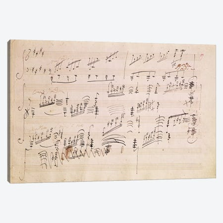 Score Sheet Of Moonlight Sonata Canvas Print #BMN6399} by Ludwig van Beethoven Art Print